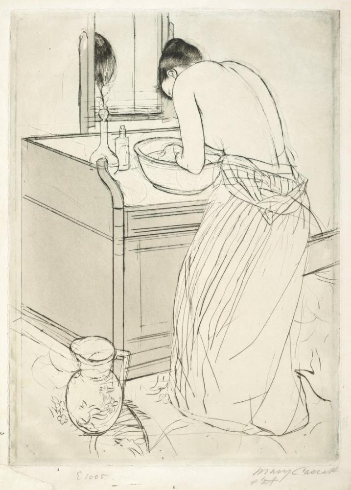 Mary Cassatt, Woman Bathing Skecth, Canvas, Mary Cassatt, kanvas tablo, canvas print sales