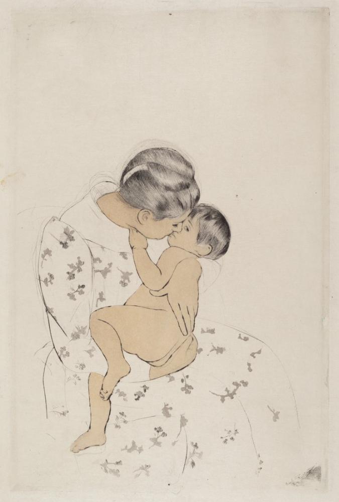 Mary Cassatt, Mother s Kiss II, Canvas, Mary Cassatt, kanvas tablo, canvas print sales