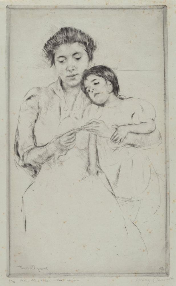 Mary Cassatt, The Crocheting Lesson, Canvas, Mary Cassatt, kanvas tablo, canvas print sales