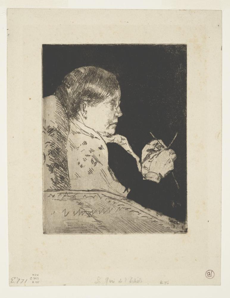 Mary Cassatt, Mrs Knitting Profile View, Canvas, Mary Cassatt, kanvas tablo, canvas print sales