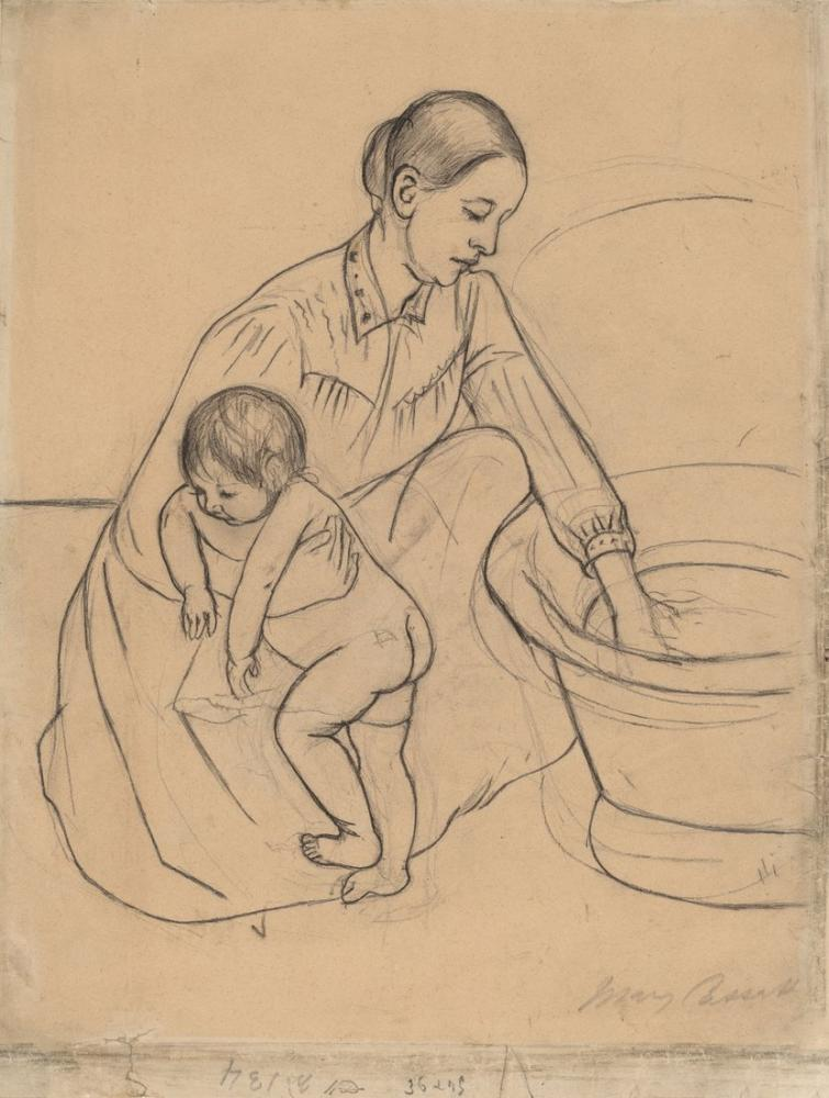 Mary Cassatt, The Bath Skecth, Canvas, Mary Cassatt, kanvas tablo, canvas print sales