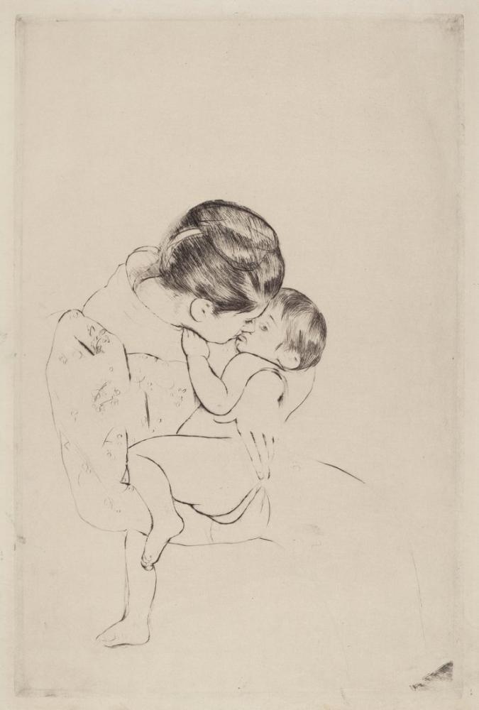 Mary Cassatt, Annenin Öpücüğü I, Kanvas Tablo, Mary Cassatt, kanvas tablo, canvas print sales
