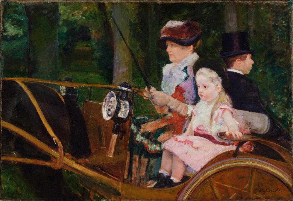 Mary Cassatt, Mary Stevenson Amerikan Bir Kadın ve Bir Kız Sürüş, Kanvas Tablo, Mary Cassatt, kanvas tablo, canvas print sales