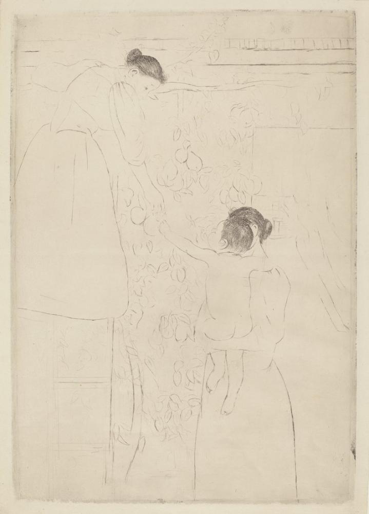 Mary Cassatt, Gathering Fruit Skecth, Canvas, Mary Cassatt, kanvas tablo, canvas print sales