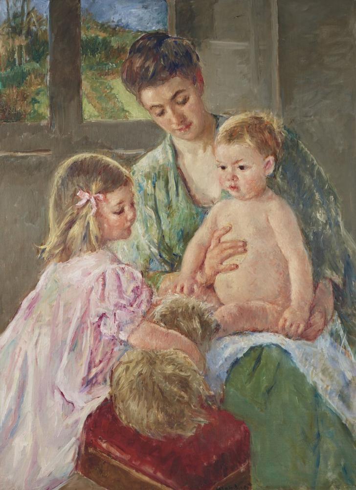 Mary Cassatt, A Children Playing with a Dog, Canvas, Mary Cassatt, kanvas tablo, canvas print sales