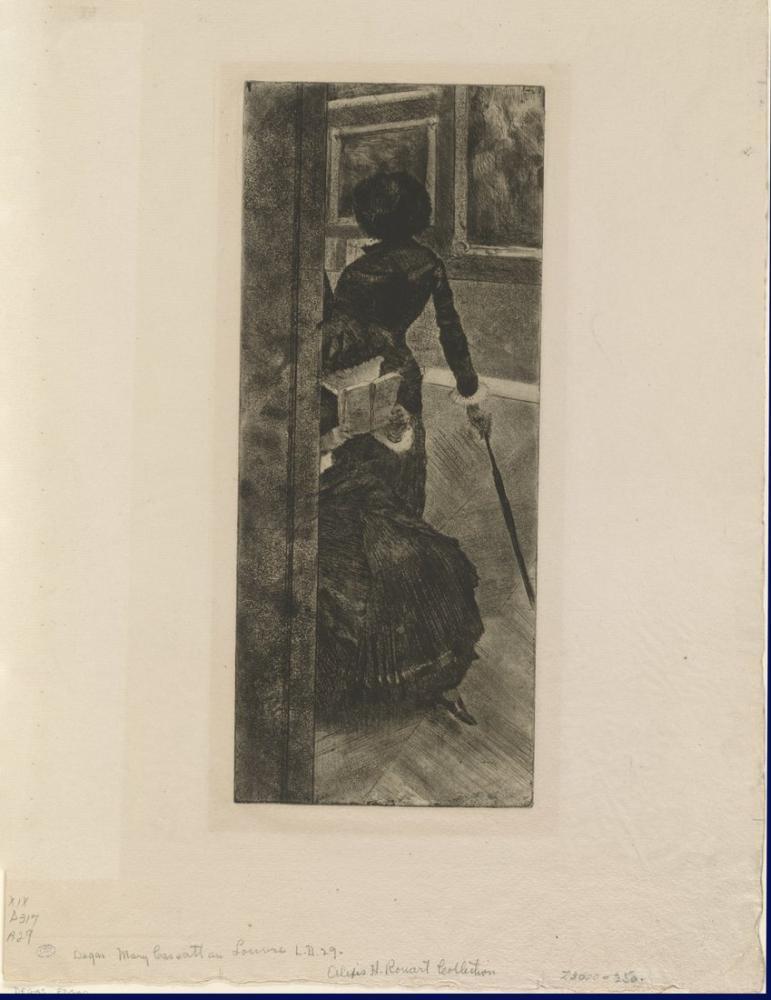 Mary Cassatt, Au Louvre la Peinture, Canvas, Mary Cassatt, kanvas tablo, canvas print sales