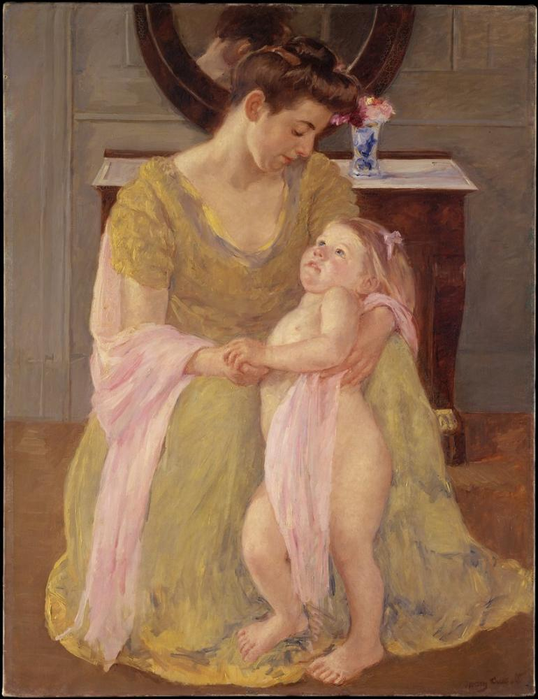 Mary Cassatt, Anne ve Çocuk Gül Pembesi Eşarp ile, Kanvas Tablo, Mary Cassatt, kanvas tablo, canvas print sales