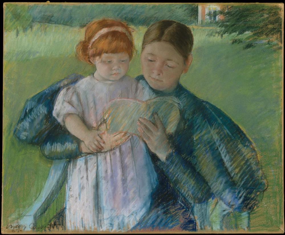 Mary Cassatt, Hemşire Küçük Bir Kıza Okuma, Kanvas Tablo, Mary Cassatt, kanvas tablo, canvas print sales