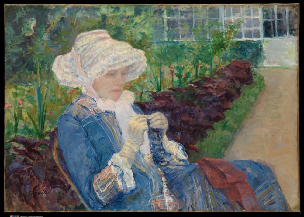 Mary Cassatt, Lydia Marly deki Bahçede Kroşe Yapmıyor, Kanvas Tablo, Mary Cassatt, kanvas tablo, canvas print sales