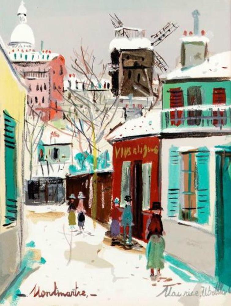 Maurice Utrillo Moulin de la Galette, Kanvas Tablo, Maurice Utrillo, kanvas tablo, canvas print sales