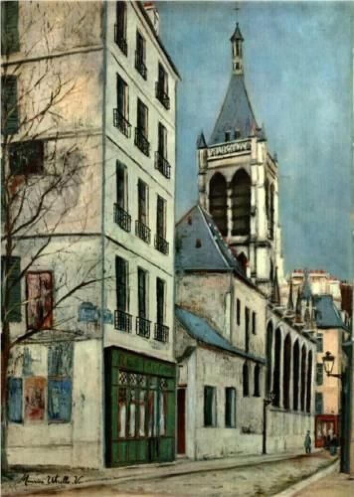 Maurice Utrillo Severin Bazilikası, Kanvas Tablo, Maurice Utrillo, kanvas tablo, canvas print sales