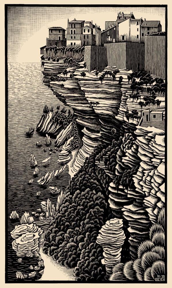 Maurits Cornelis Escher Bonifacio Corsica Of 1928, Canvas, Maurits Cornelis Escher, kanvas tablo, canvas print sales