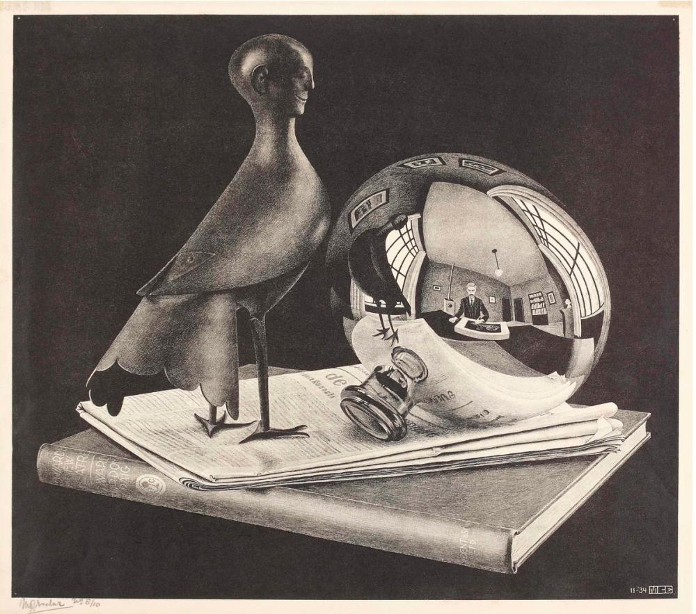 Maurits Cornelis Escher Stilleven Met Bolspiegel, Figure, Maurits Cornelis Escher, kanvas tablo, canvas print sales