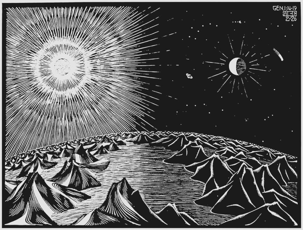 Maurits Cornelis Escher Yaratılışın Dördüncü Günü, Figür, Maurits Cornelis Escher, kanvas tablo, canvas print sales