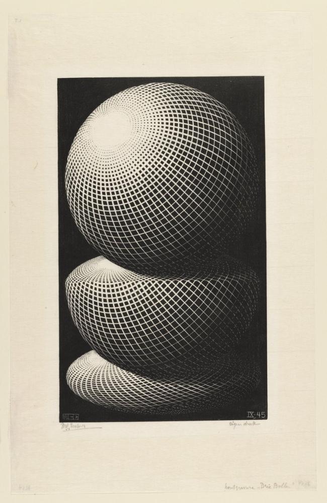 Maurits Cornelis Escher Three Spheres, Canvas, Maurits Cornelis Escher, kanvas tablo, canvas print sales