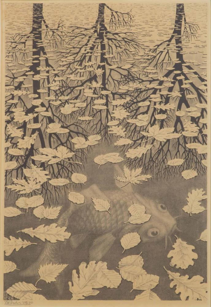 Maurits Cornelis Escher Three Worlds, Figure, Maurits Cornelis Escher, kanvas tablo, canvas print sales