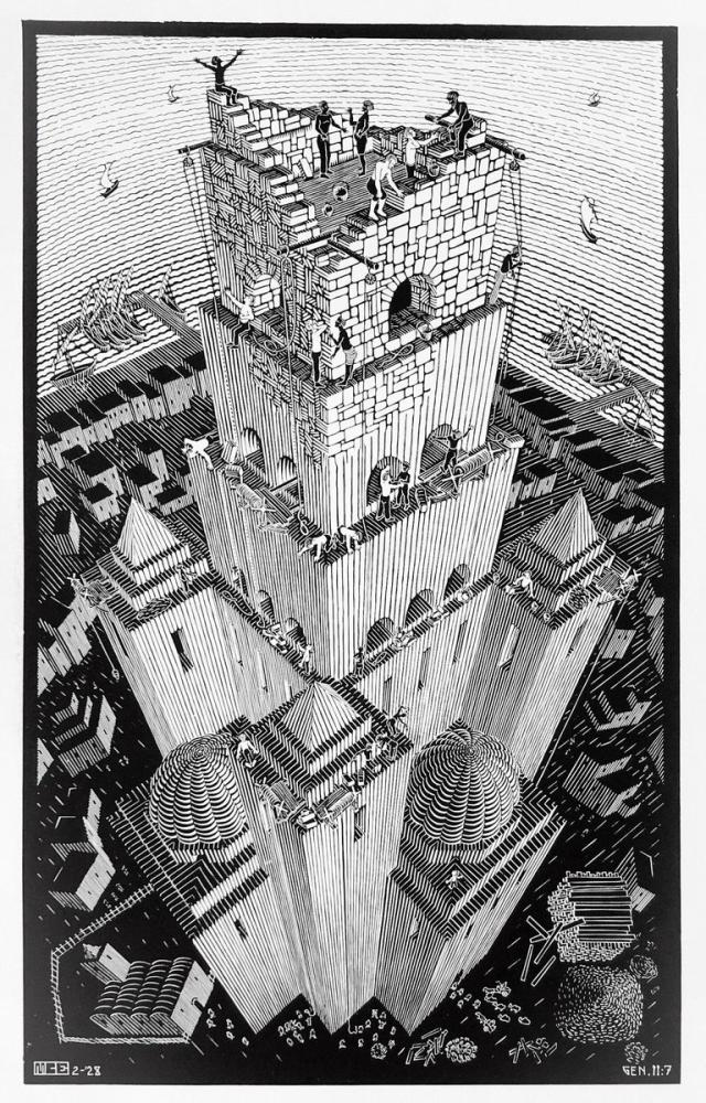Maurits Cornelis Escher Tower Of Babel, Figure, Maurits Cornelis Escher, kanvas tablo, canvas print sales