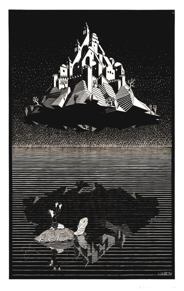 Maurits Cornelis Escher Havadaki Kale, Figür, Maurits Cornelis Escher, kanvas tablo, canvas print sales