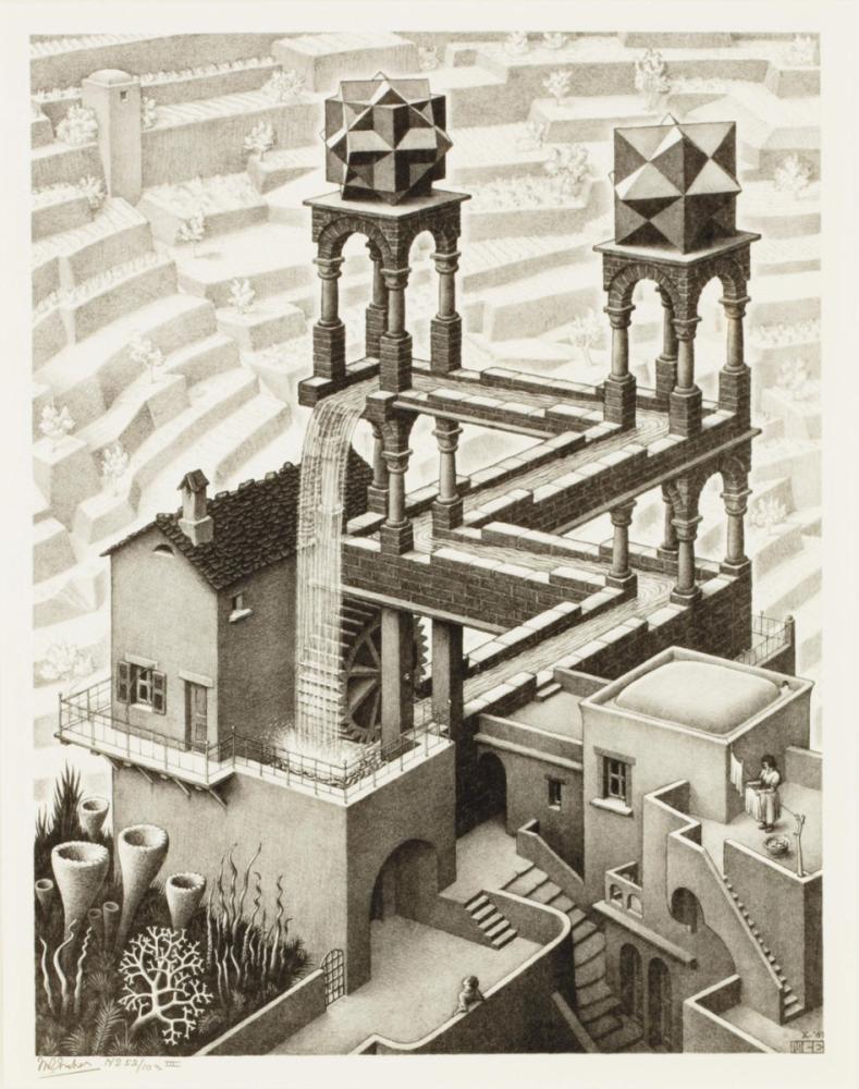 Maurits Cornelis Escher Waterfall, Figure, Maurits Cornelis Escher, kanvas tablo, canvas print sales