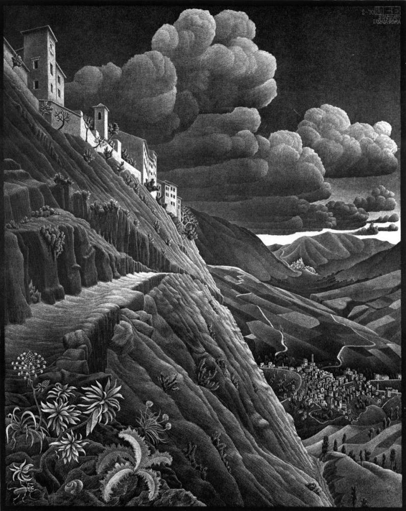 Maurits Cornelis Escher Castrovalva, Canvas, Maurits Cornelis Escher, kanvas tablo, canvas print sales