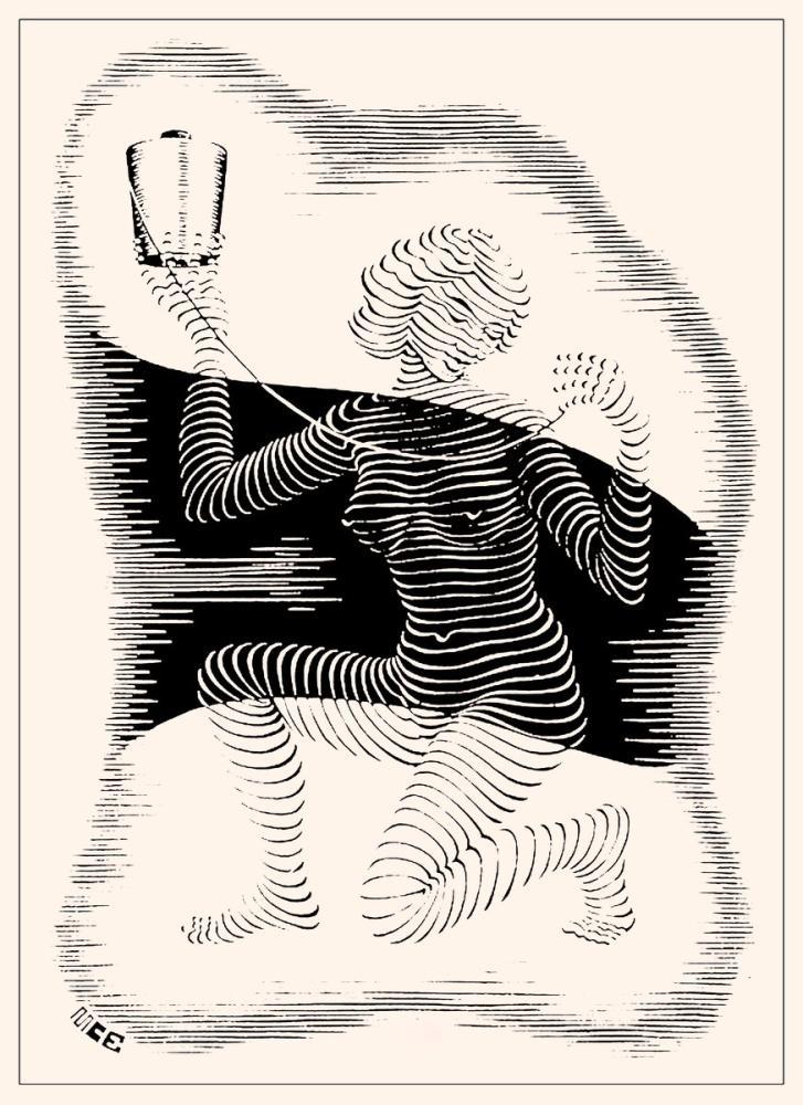 Maurits Cornelis Escher Christmas Card, Figure, Maurits Cornelis Escher, kanvas tablo, canvas print sales