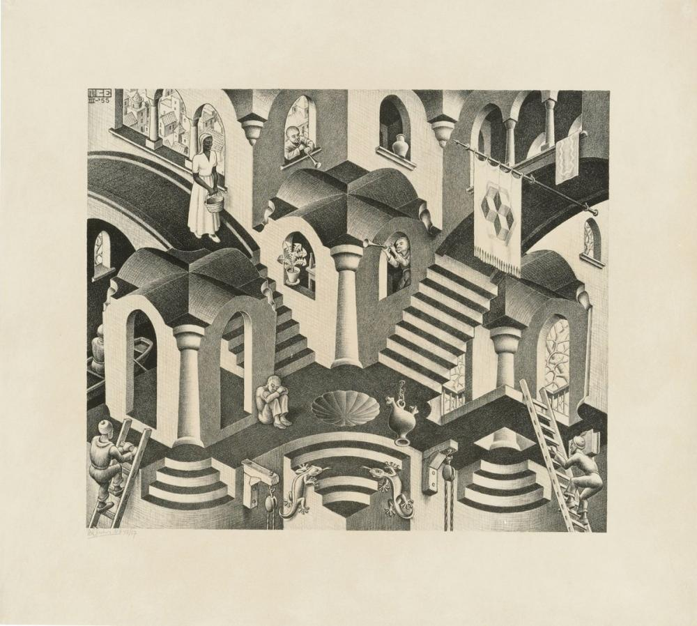 Maurits Cornelis Escher Convex And Concave, Figure, Maurits Cornelis Escher, kanvas tablo, canvas print sales
