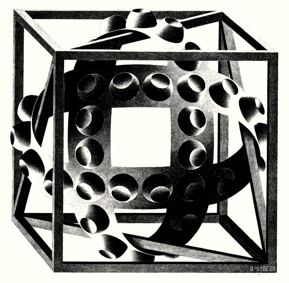 Maurits Cornelis Escher Cube With Magic Ribbons, Canvas, Maurits Cornelis Escher, kanvas tablo, canvas print sales