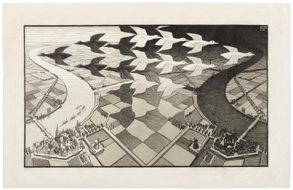 Maurits Cornelis Escher Day And Night, Canvas, Maurits Cornelis Escher, kanvas tablo, canvas print sales