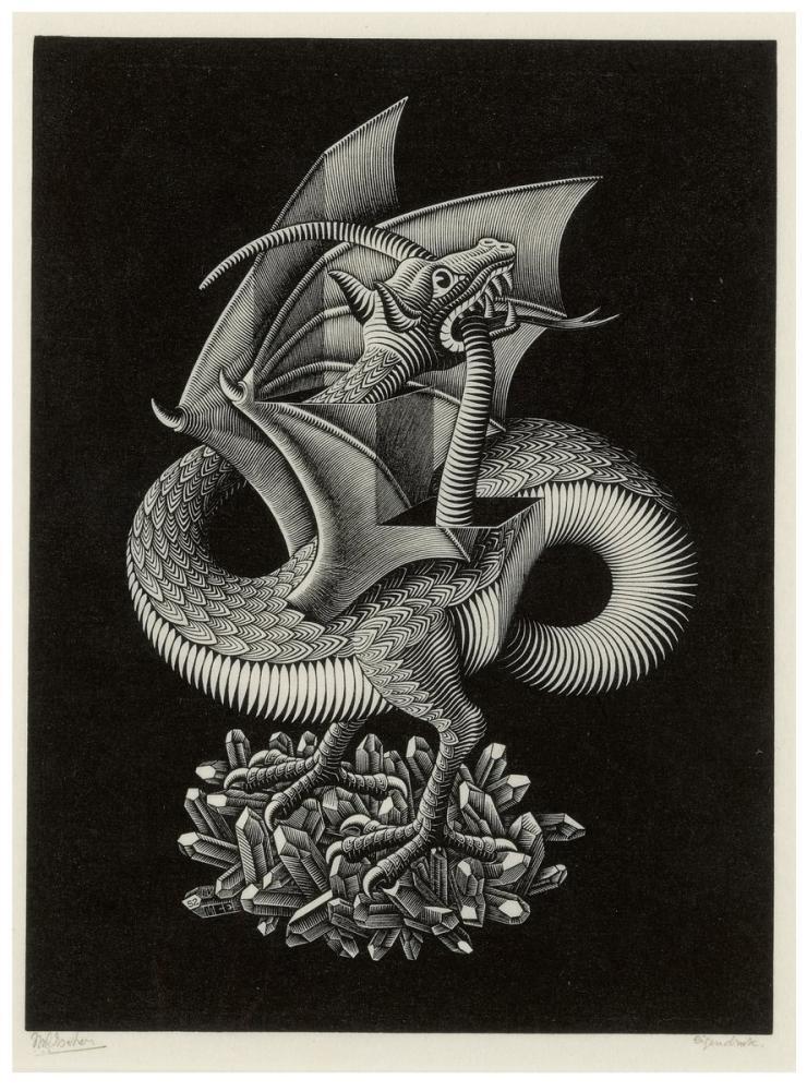 Maurits Cornelis Escher Dragon, Figure, Maurits Cornelis Escher, kanvas tablo, canvas print sales