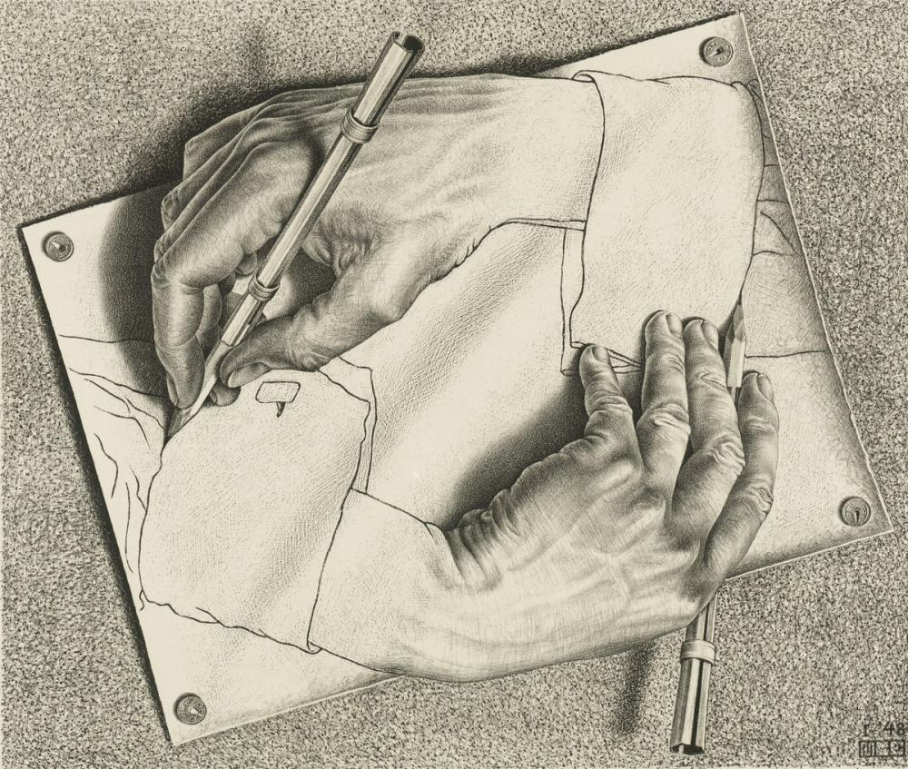 Maurits Cornelis Escher Drawing Hands, Figure, Maurits Cornelis Escher, kanvas tablo, canvas print sales
