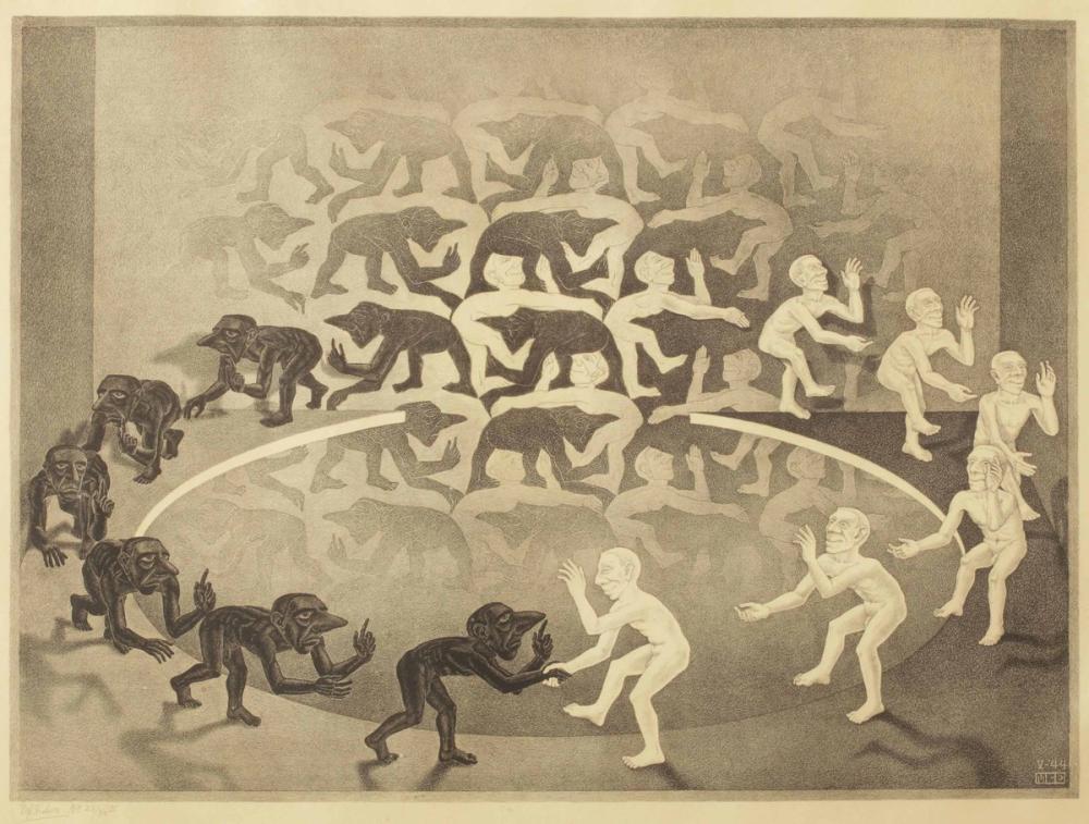 Maurits Cornelis Escher Encounter, Figure, Maurits Cornelis Escher, kanvas tablo, canvas print sales