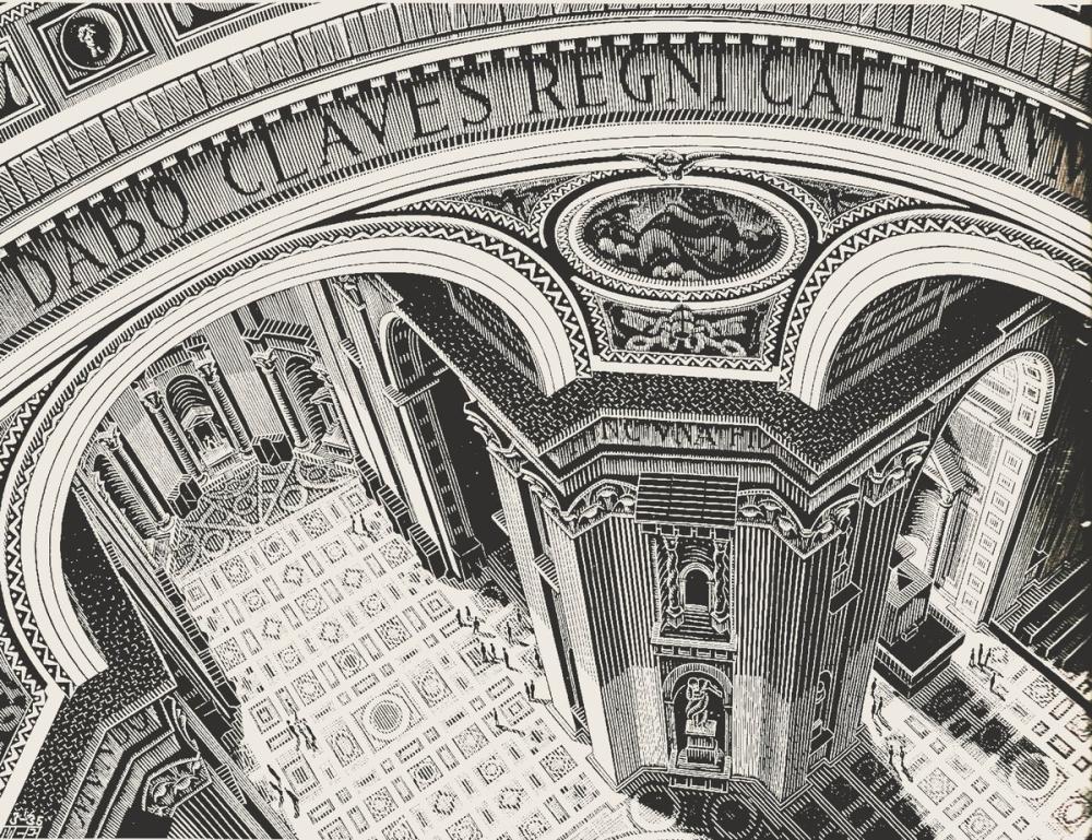 Maurits Cornelis Escher Inside St Peter Rome, Canvas, Maurits Cornelis Escher, kanvas tablo, canvas print sales