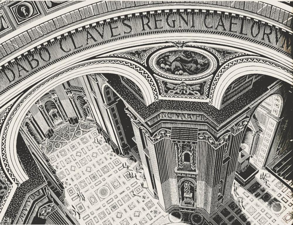 Maurits Cornelis Escher St Peter Roma İçinde, Kanvas Tablo, Maurits Cornelis Escher, kanvas tablo, canvas print sales