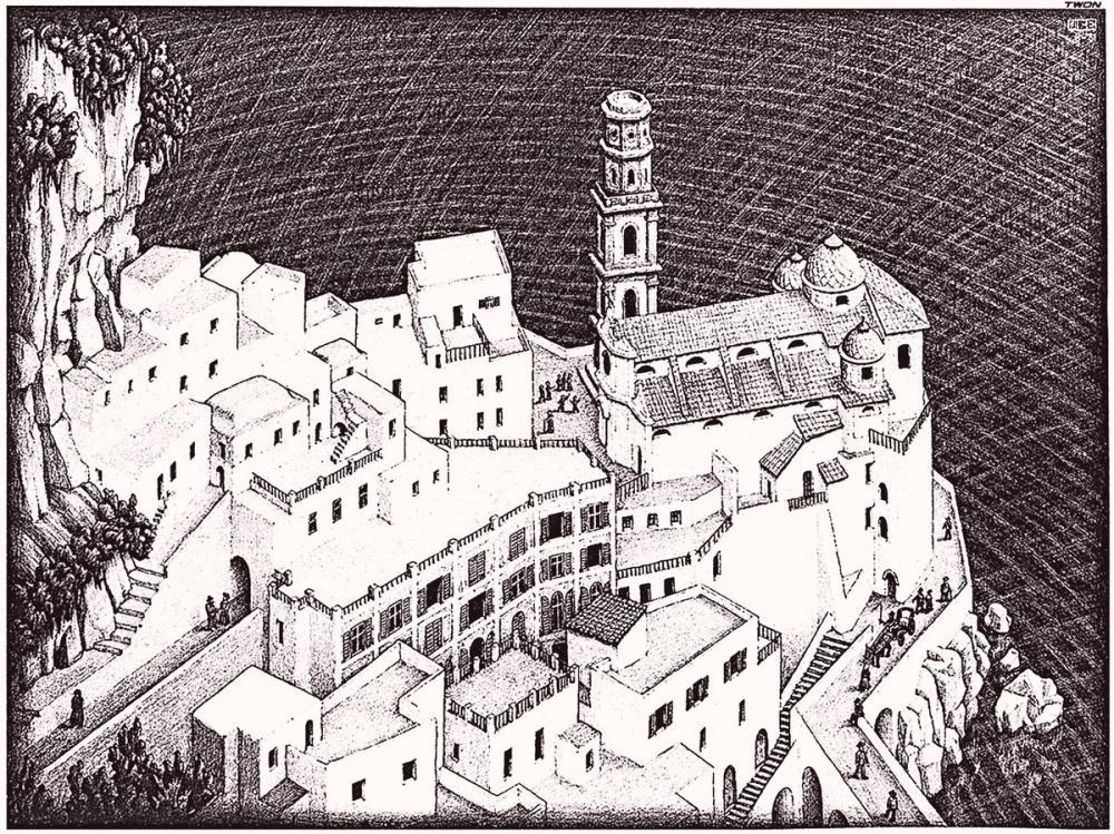 Maurits Cornelis Escher Atrani Coast Of Amalfi, Canvas, Maurits Cornelis Escher, kanvas tablo, canvas print sales