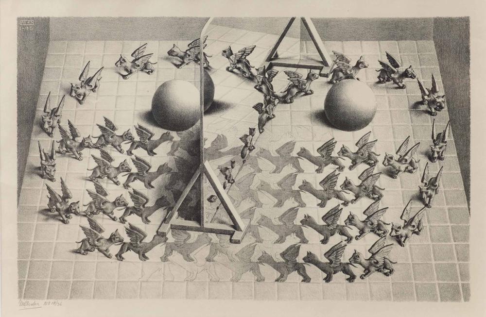 Maurits Cornelis Escher Magic Mirror, Figure, Maurits Cornelis Escher, kanvas tablo, canvas print sales