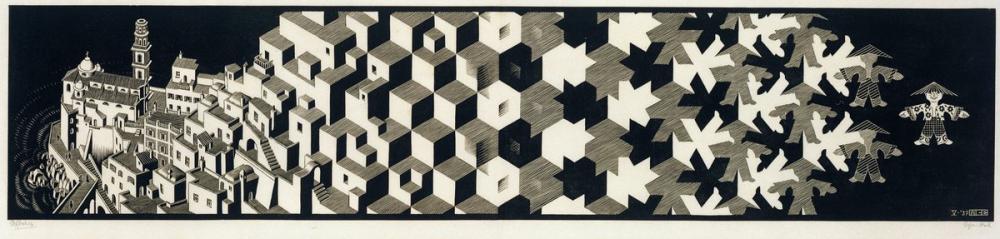 Maurits Cornelis Escher Metamorphosis I, Canvas, Maurits Cornelis Escher, kanvas tablo, canvas print sales