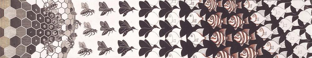 Maurits Cornelis Escher Metamorfozlar III, Kanvas Tablo, Maurits Cornelis Escher, kanvas tablo, canvas print sales