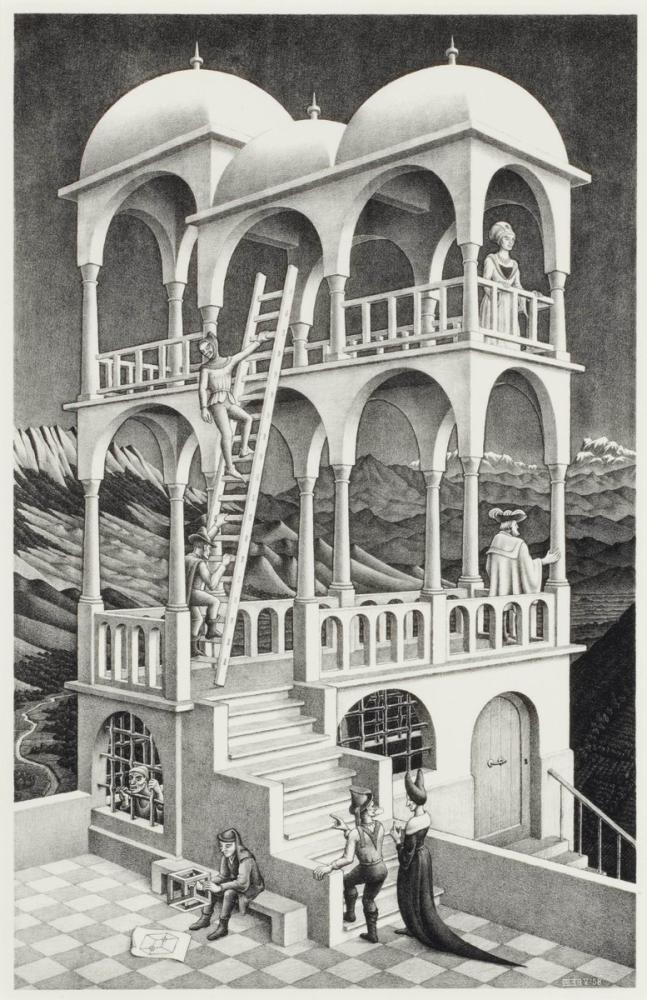 Maurits Cornelis Escher Belvedere, Figure, Maurits Cornelis Escher, kanvas tablo, canvas print sales