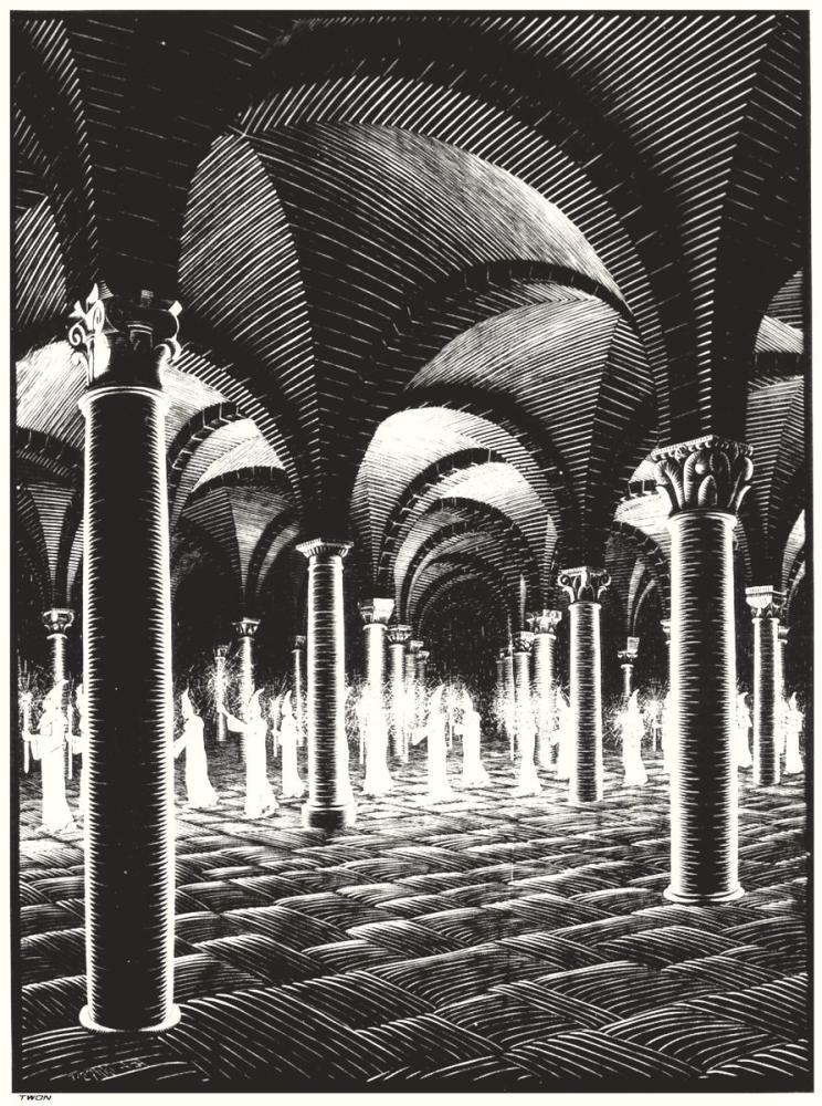 Maurits Cornelis Escher Procession In Crypt, Canvas, Maurits Cornelis Escher, kanvas tablo, canvas print sales