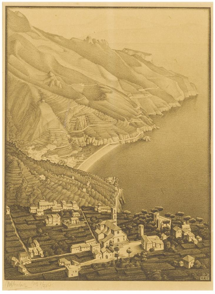 Maurits Cornelis Escher Ravello And The Coast Of Amalfi, Canvas, Maurits Cornelis Escher, kanvas tablo, canvas print sales