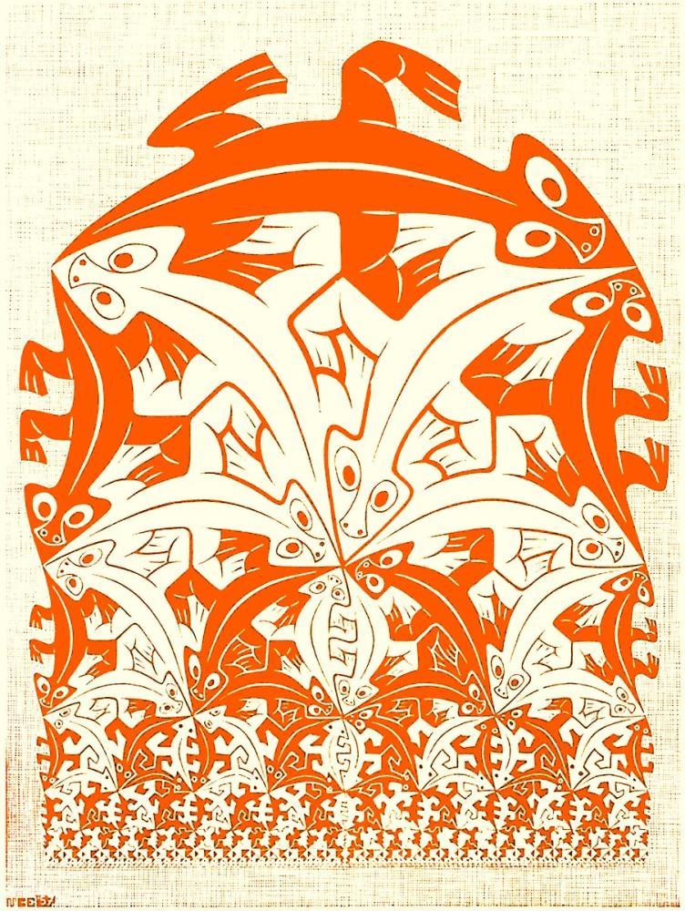 Maurits Cornelis Escher Red Lizards, Canvas, Maurits Cornelis Escher, kanvas tablo, canvas print sales