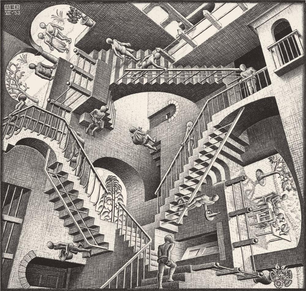 Maurits Cornelis Escher Görelilik, Figür, Maurits Cornelis Escher, kanvas tablo, canvas print sales
