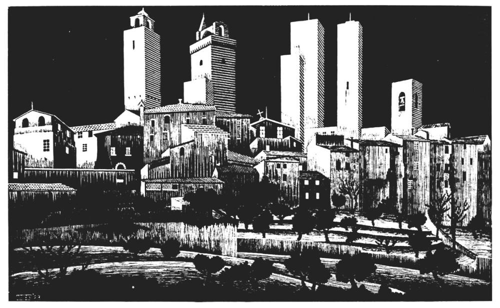 Maurits Cornelis Escher San Gimignano, Canvas, Maurits Cornelis Escher, kanvas tablo, canvas print sales