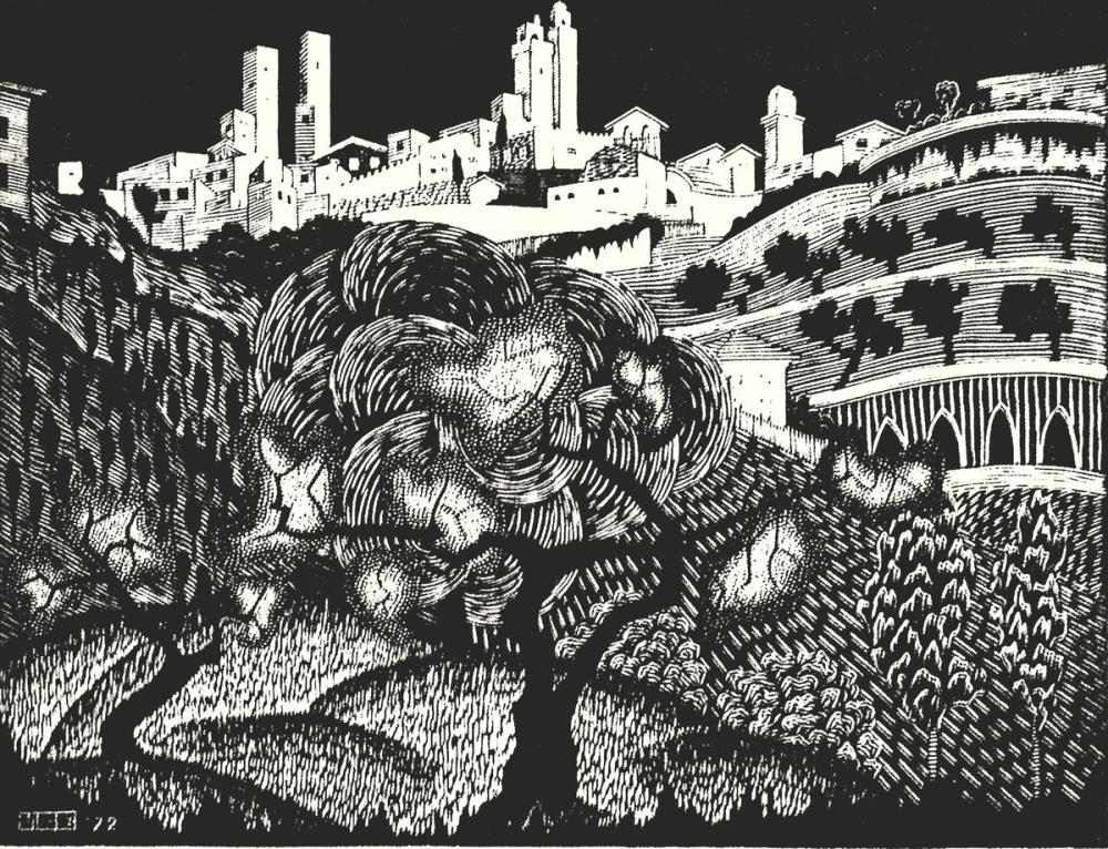 Maurits Cornelis Escher San Gimignano II, Canvas, Maurits Cornelis Escher, kanvas tablo, canvas print sales