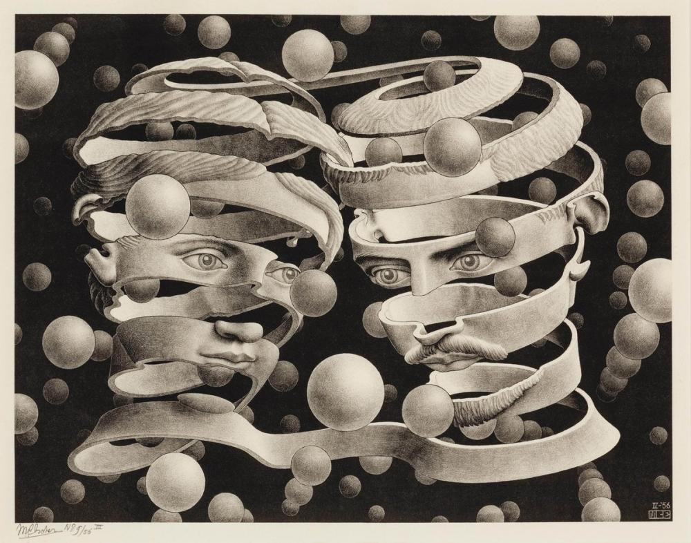 Maurits Cornelis Escher Bond Of Union, Figure, Maurits Cornelis Escher, kanvas tablo, canvas print sales