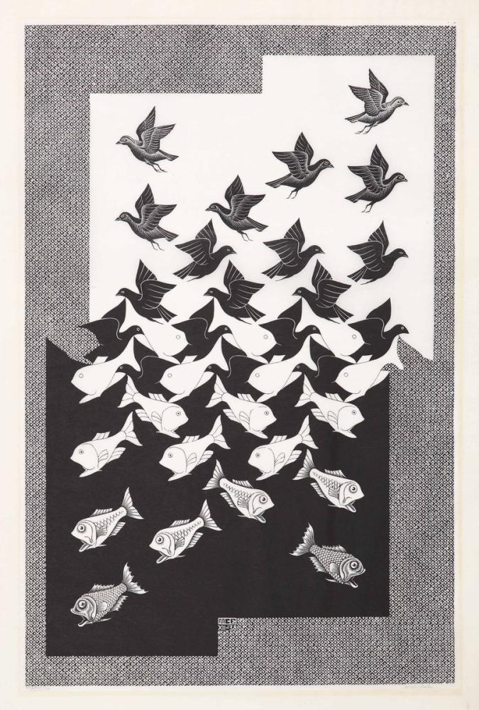 Maurits Cornelis Escher Sky And Water II, Canvas, Maurits Cornelis Escher, kanvas tablo, canvas print sales