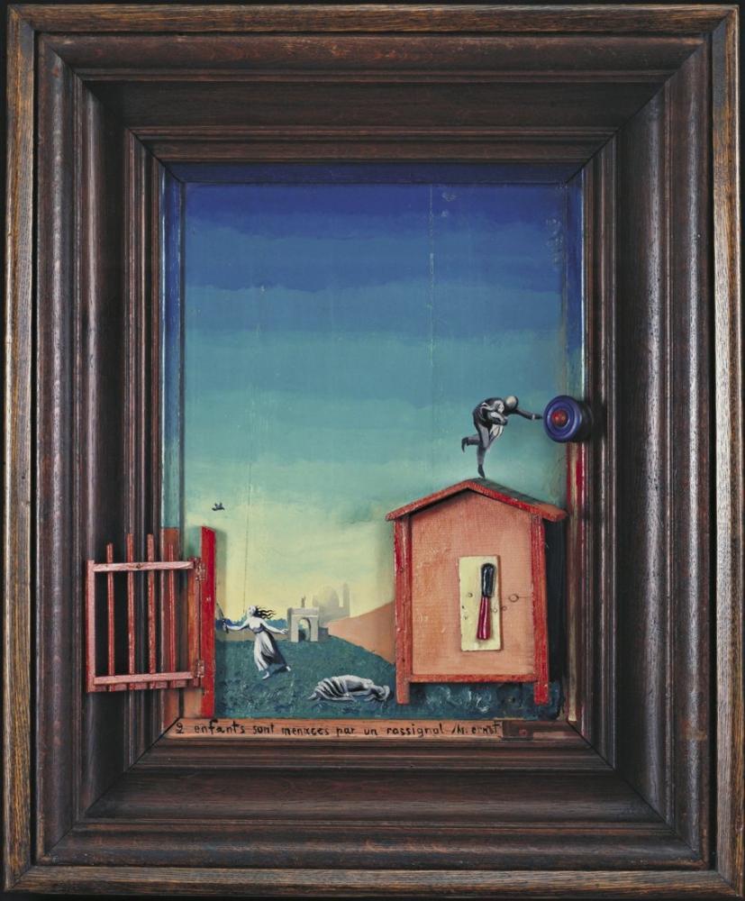 Max Ernst İki Çocuk Bir Bülbül Tarafından Tehdit Edildi, Figür, Max Ernst, kanvas tablo, canvas print sales