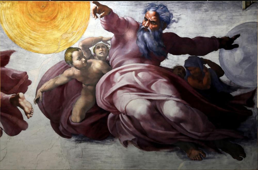 Sistine Şapeli Tavanı, Güneş Ay ve Gezegenlerin Oluşturulması, Michelangelo, Kanvas Tablo, Michelangelo, kanvas tablo, canvas print sales