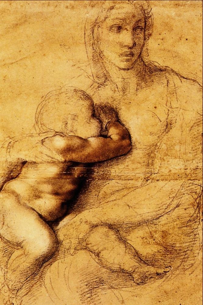 Oğlu Emziren Madonna, Michelangelo, Kanvas Tablo, Michelangelo, kanvas tablo, canvas print sales