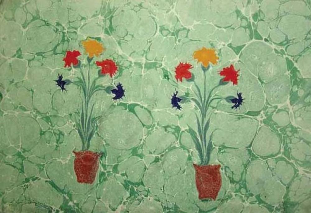 Necmeddin Okyay Marbling with flowers, Art Movements, Necmeddin Okyay
